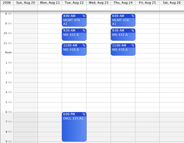 Fall 2006 Schedule